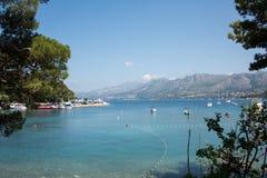 Sikt från Cavtat, Kroatien Fotografering för Bildbyråer