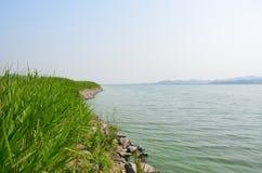 Sikt från de gröna ängarna av floden Arkivbilder
