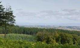 Sikt från de Quantock kullarna Somerset England in mot Hinkley punkt Royaltyfria Bilder
