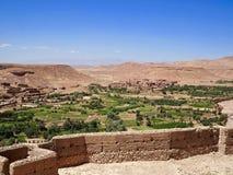 Sikt från den Ait Benhaddou fästningen i Marocko Arkivfoton