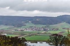 Sikt från den Banz abbotskloster, Tyskland Arkivbilder