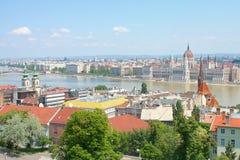Sikt från den Budapest slotten, Ungern Arkivfoto