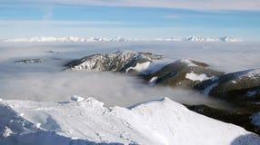 Sikt från den Chopok monteringen på den höga Tatrasen Fotografering för Bildbyråer