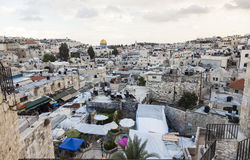 Sikt från den Damascus porten till Jerusalem den gamla staden israel Royaltyfri Fotografi