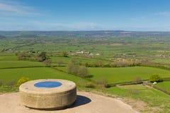 Sikt från den Glastonbury toren av Somerset UK Arkivfoton