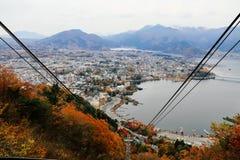 Sikt från den Kachi Kachi ropewayen Kawaguchiko Fotografering för Bildbyråer