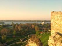 Sikt från den Kalemegdan fästningen Arkivbilder