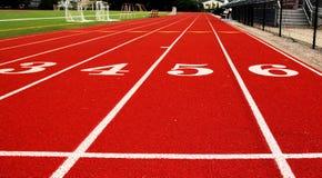 Sikt från den 100 meter startlinjen Fotografering för Bildbyråer