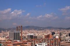 Sikt från den Montjuic kabelbilen, Barcelona arkivfoto