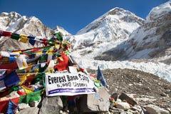 Sikt från den Mount Everest basläger Arkivbild
