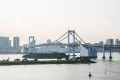 sikt från den Odaiba ön, Tokyo, Japan Arkivbild