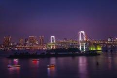 sikt från den Odaiba ön, Tokyo, Japan fotografering för bildbyråer