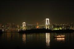 sikt från den Odaiba ön, Tokyo, Japan arkivfoto