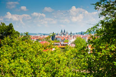 Sikt från den Petrin kullen, Prague Arkivfoto
