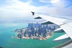 Sikt från den plana Dohaen Royaltyfria Foton