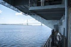 Sikt från den USS Yorktown hangarfartyget arkivfoton