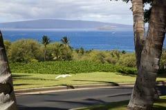 Sikt från den Wailea golfbanan Fotografering för Bildbyråer