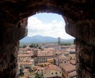 Sikt från det Guinigi tornet i Lucca Toscana Italien Arkivbilder