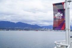 Sikt från det Kanada stället över den Vancouver hamnen - VANCOUVER - KANADA - APRIL 12, 2017 Arkivbild