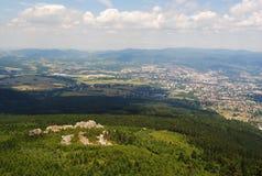 Sikt från det skojade tornet, Tjeckien Royaltyfri Fotografi