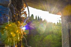 Sikt från ett slottfönster Arkivfoton