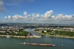 Sikt från fästningen Ehrenbreitstein i den Koblenz Tyskland Fotografering för Bildbyråer