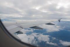 Sikt från flygplanvingen Arkivbilder