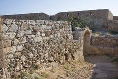 Sikt från Fortezzs fästning på havet. Rethymno Arkivfoto