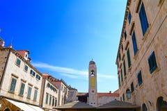 Sikt från gammal stad i Dubrovnik, Kroatien Arkivfoto