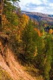 Sikt från geologiska Puckoriai, Puckoriai exponering, Vilnia flod, litauisk högst exponering som 65 M är hög lithuania vilnius Royaltyfri Foto