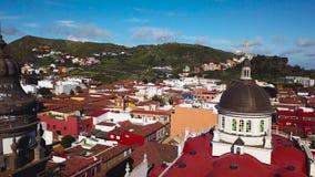 Sikt från höjden på domkyrkan och townscape San Cristobal De La Laguna, Tenerife, kanariefågelöar, Spanien arkivfilmer