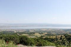 Sikt från höjdpunkt i staden Thessaloniki, Grekland för läge nästan Royaltyfri Foto