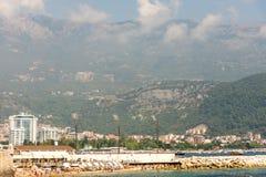Sikt från havet av Budva i Montenegro Fotografering för Bildbyråer