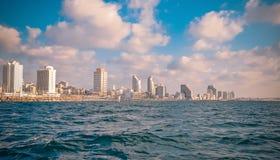 Sikt från havet på Tel Aviv Royaltyfri Bild