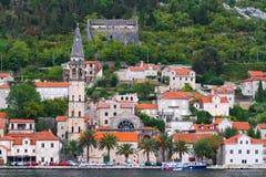 , sikt från havet, republik av Montenegro Arkivbilder