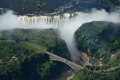 Sikt från helikoptern av Victoria Falls i Afrika Royaltyfri Fotografi