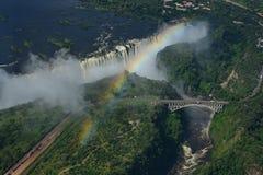 Sikt från helikoptern av Victoria Falls i Afrika Royaltyfria Foton