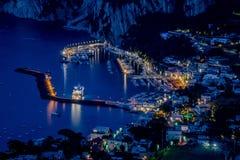 Sikt från hotellet San Michele i Anacapri på skymning, Capri, Italien Royaltyfria Foton