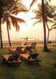 Sikt från hotellferiesemesterorten, tomma sunbeds, palmträd, strand arkivfoto