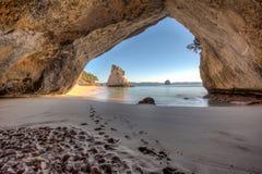Sikt från inre tunnelen eller grottan på domkyrkalilla viken Nya Zeeland royaltyfri foto