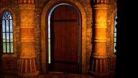 Sikt från insidan av en gammal medeltida boningshus Royaltyfria Bilder