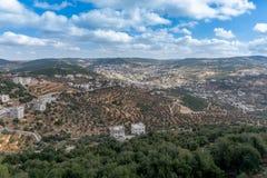 Sikt från Jordanien som ser in mot Israel in i Jordan Valley Fotografering för Bildbyråer