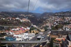 Sikt från kabel till Monte, Funchal, madeira arkivbild
