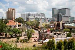 Sikt från kullen av St Paul på Malacca Royaltyfri Fotografi