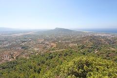 Sikt från kullen i Filerimos, Rhodes ö, Grekland Royaltyfri Foto