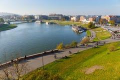 Sikt från kungligt Wawel slottområde i Krakow på november 02, 2014 Royaltyfri Foto