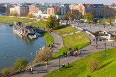 Sikt från kungligt Wawel slottområde i Krakow på november 02, 2014 Arkivfoto