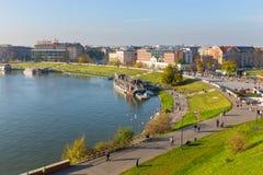 Sikt från kungligt Wawel slottområde i Krakow på november 02, 2014 Royaltyfri Fotografi