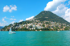 Sikt från laken av Lugano Fotografering för Bildbyråer