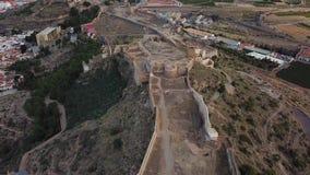 Sikt från luft på slotten Sagunto nära Valencia stock video